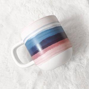 Indigo Blue & Pink Striped Watercolour Coffee Mug
